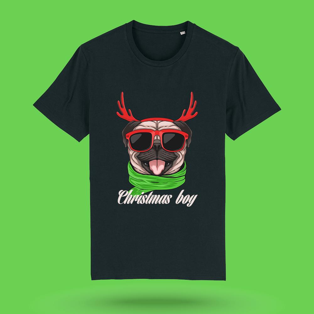 Tricou-personalizat-negru-barbati-Craciun-tricou de craciun-Christmas-Boy