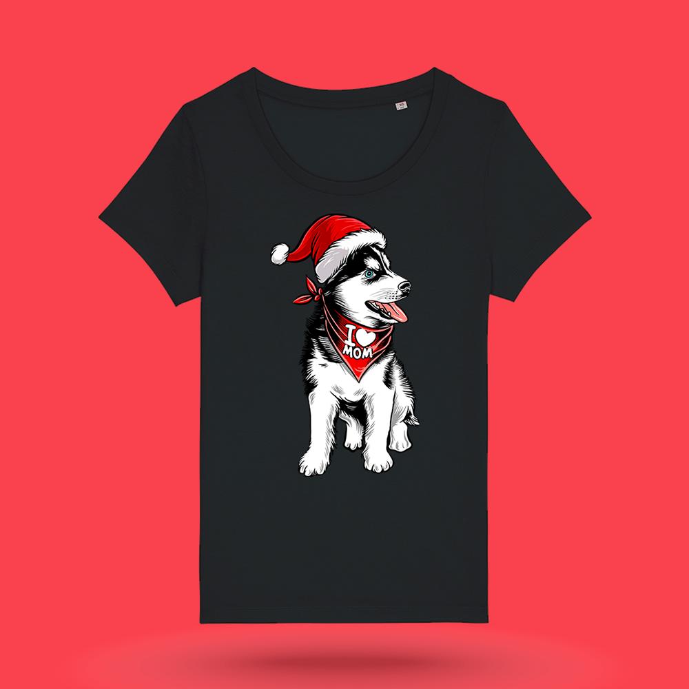 Tricou-personalizat-negru-femei-Craciun-tricou de craciun-Husky Love