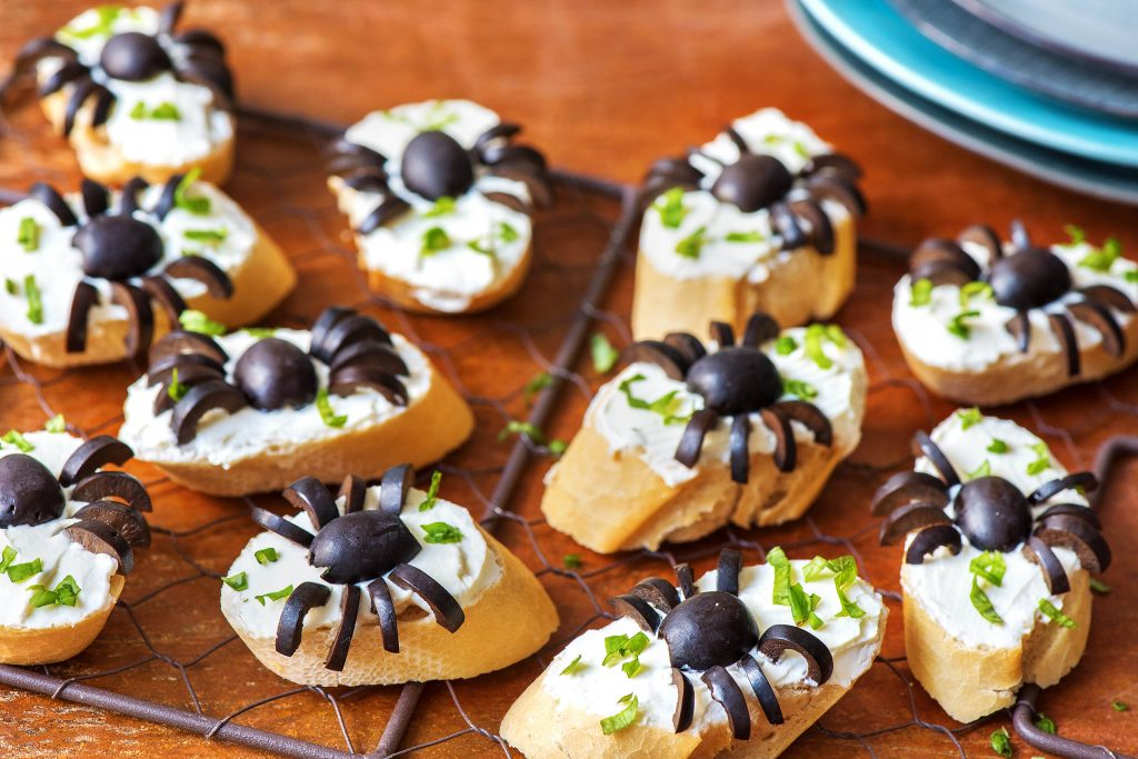healthy Halloween treats-HelloFresh-olive-spider-toast