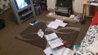 Creating on the living room floor