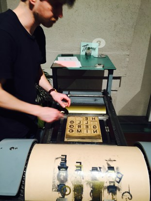 Peso Press setting up the letterpress for Hello Geronimo's print