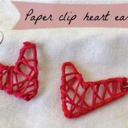 DIY Paper Clip Heart Earrings