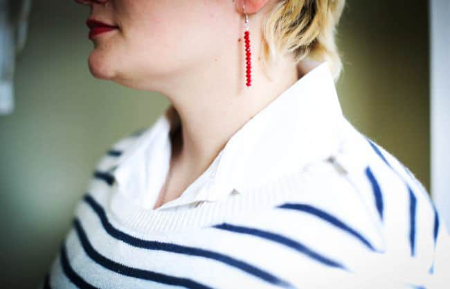 DIY red bead earrings   Hello Glow