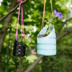 DIY Recycled Hanging Planters