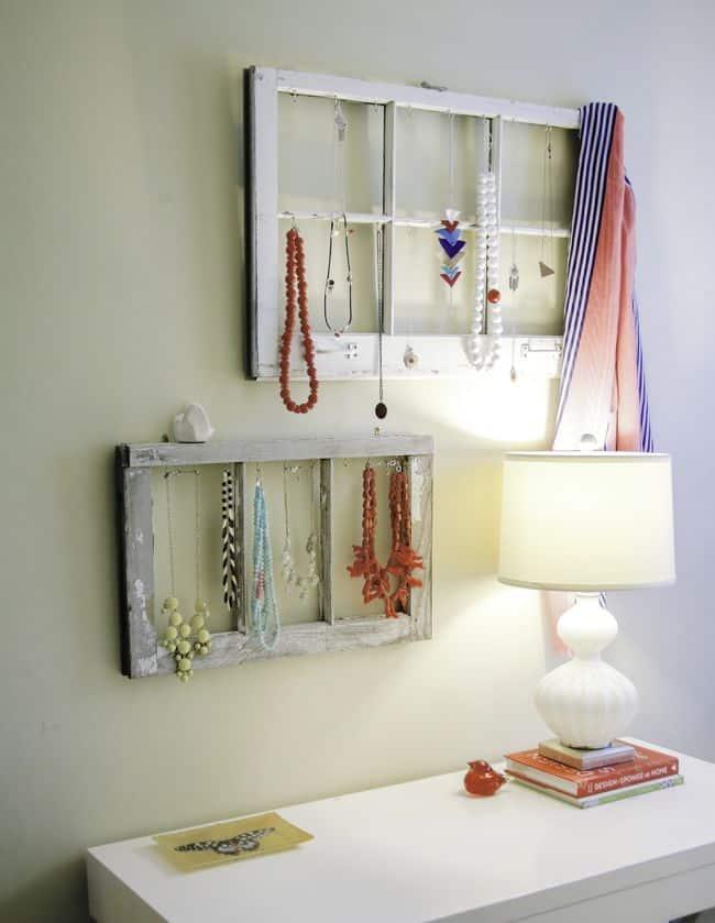 DIY Jewelry Display from Old Windows | Hello Glow