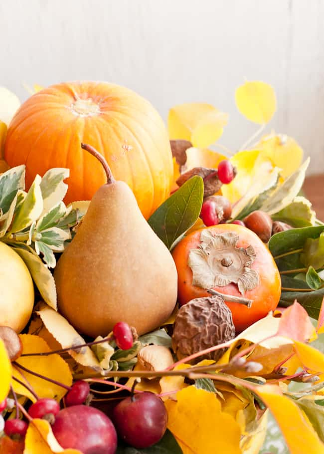 thanksgiving centerpiece - pear, persimmon and pumpkin