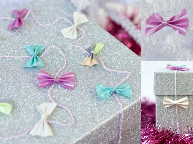 Tiny Duct Tape Bow Gift Garland | 25 Ways to Tie a Bow | HelloGlow.co