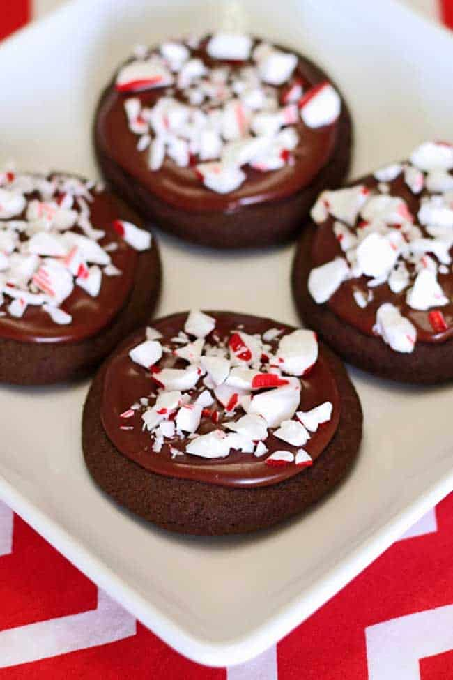 Vegan Frosted Chocolate Peppermint Cookies