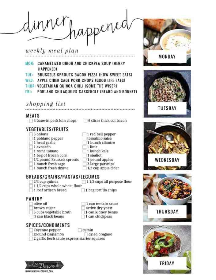 Dinner Happened Shopping List | Hello Glow