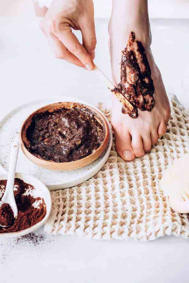 Foot scrub recipe with coffee and banana