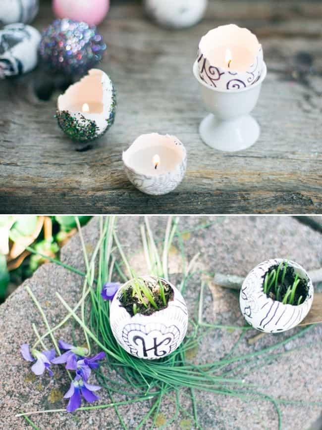 Eggshell garden + candles   HelloGlow.co