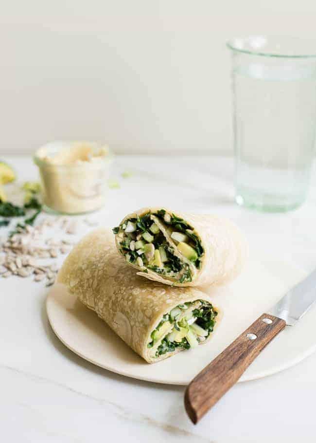 Protein Packed Kale, Avocado + Hummus Wrap | HelloGlow.co