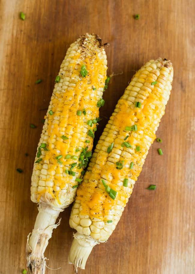 Cheddar and Chive Roasted Corn
