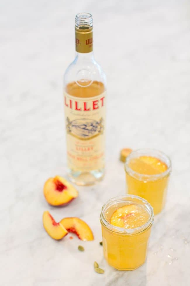 Peach-Apricot Lillet Fizz with Cardamom Sugar | HelloGlow.co