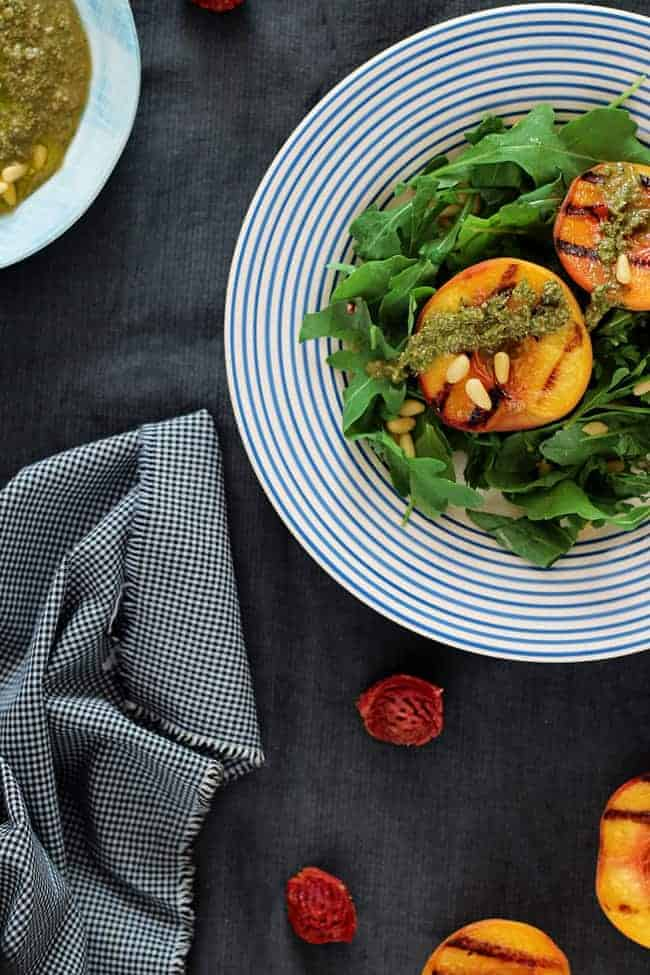 Arugula Salad with Grilled Peaches and Vegan Pesto ...