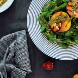 Arugula Salad Recipe with Grilled Peaches and Vegan Basil Pesto