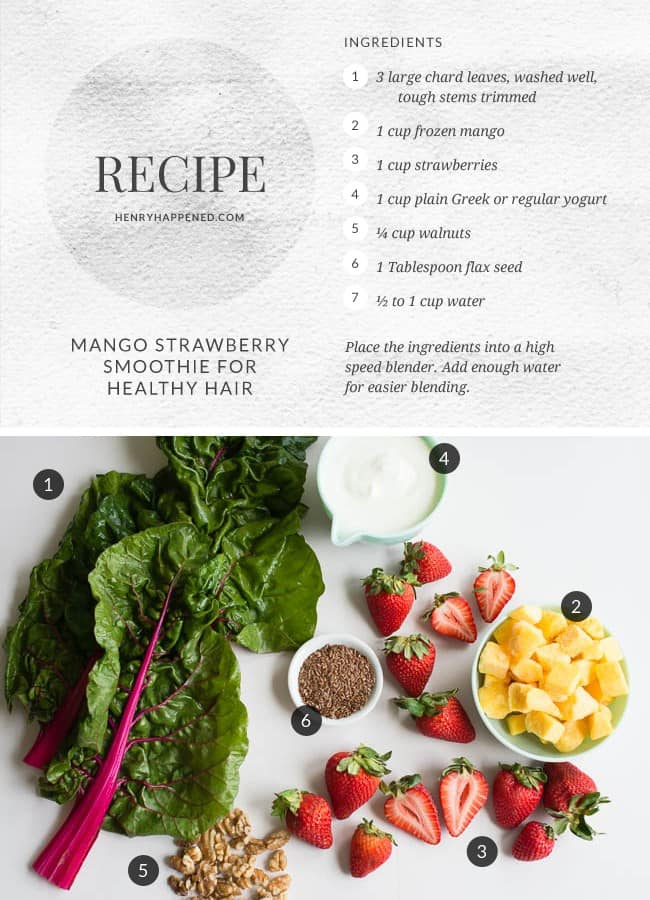 BEAUTY SMOOTHIE: Swiss Chard, Mango + Strawberry for Healthy Hair | Hello Glow