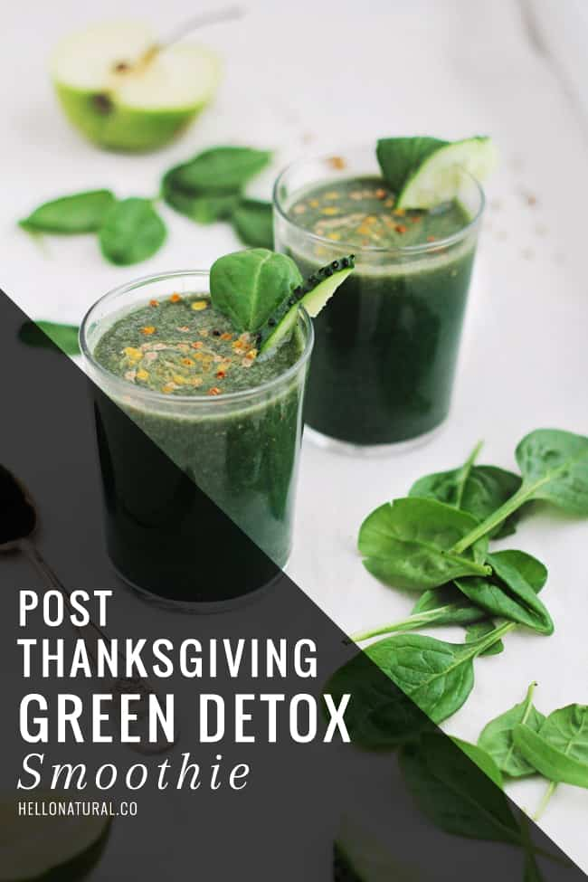 Post-Thanksgiving Green Detox Smoothie | HelloGlow.co