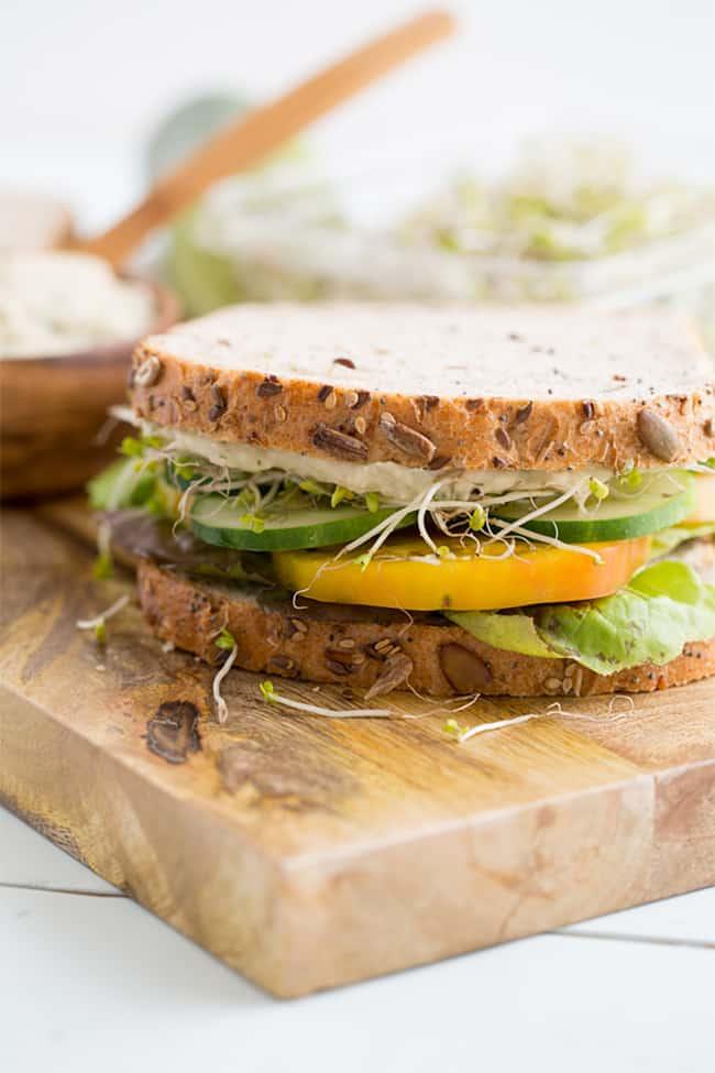 Basil White Bean Spread Sandwich | 101 Healthy Lunches
