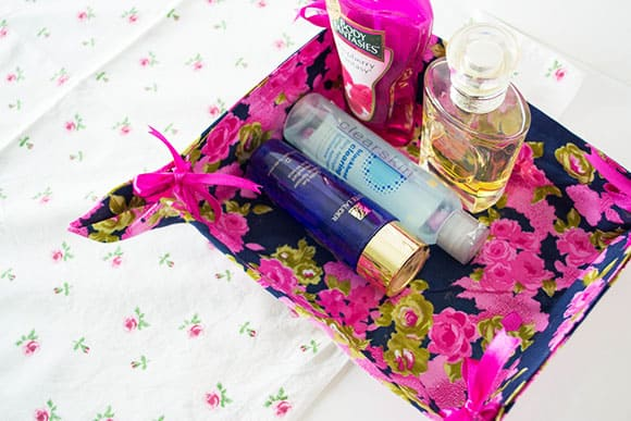 Ribbon tie vanity basket | 15 Clever DIY Makeup Storage + Organization Ideas