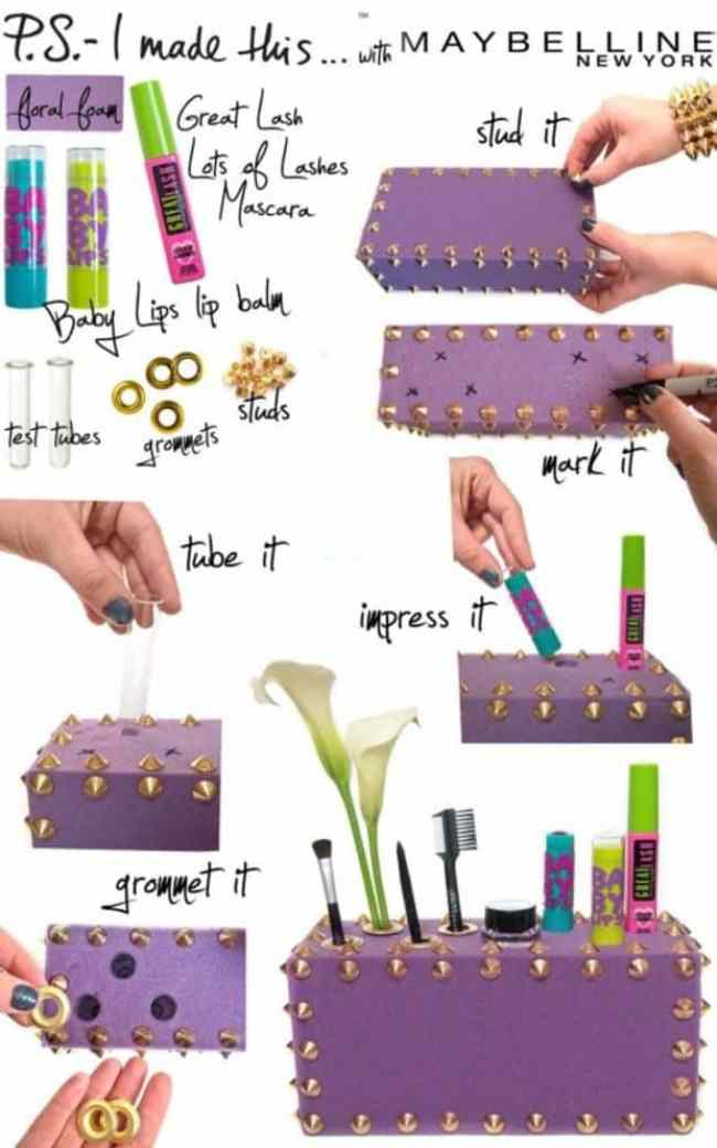 Beauty box| 15 Clever DIY Makeup Storage + Organization Ideas