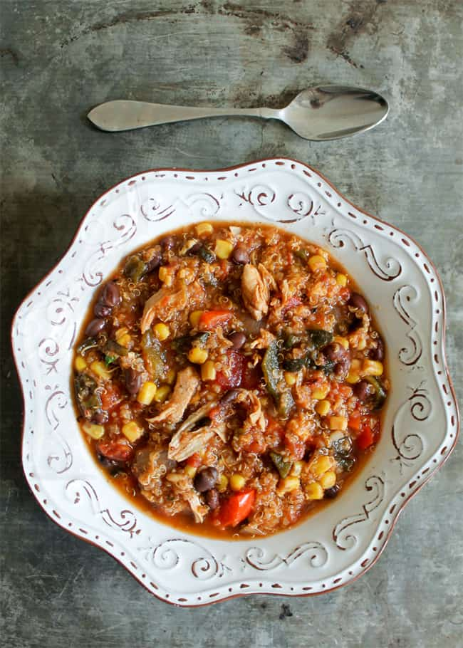 Slow Cooker Black Bean, Quinoa & Chicken Tortilla Soup
