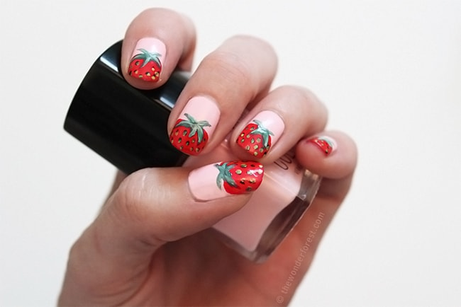 DIY Strawberry Nails | 13 Ways to Wear Pink Nails