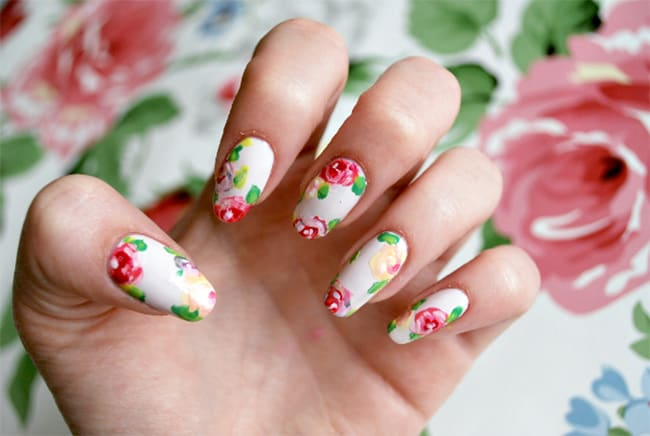 Floral nail art by Burkatron | 13 Flower Nail Tutorials