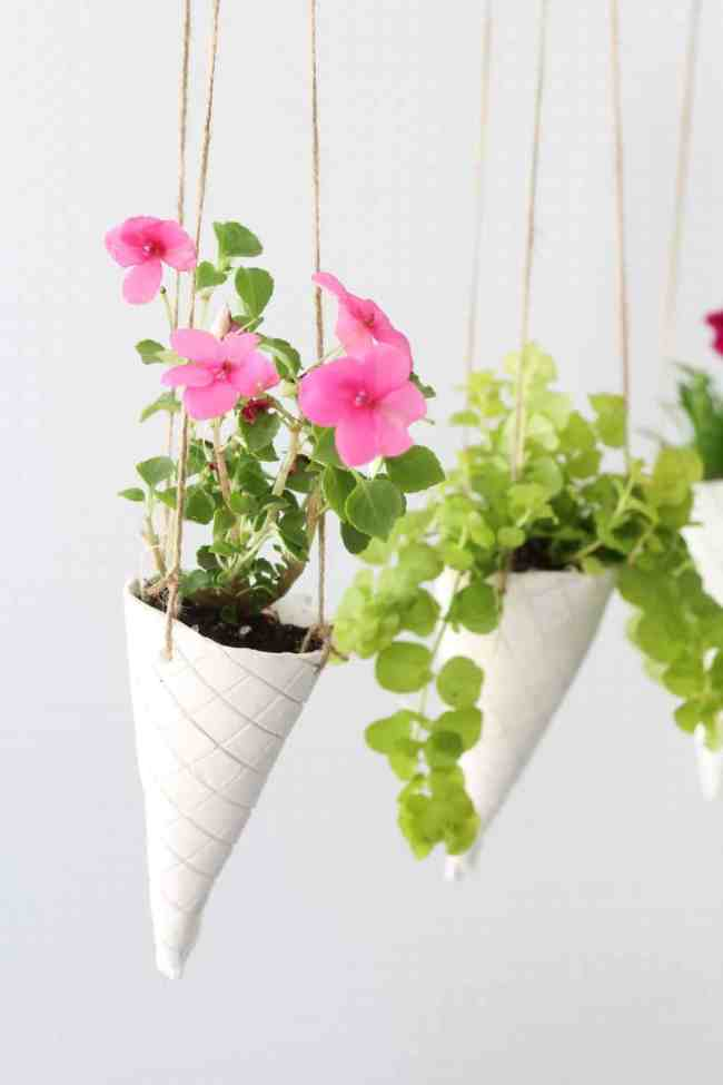 DIY Waffle Cone Hanging Planter