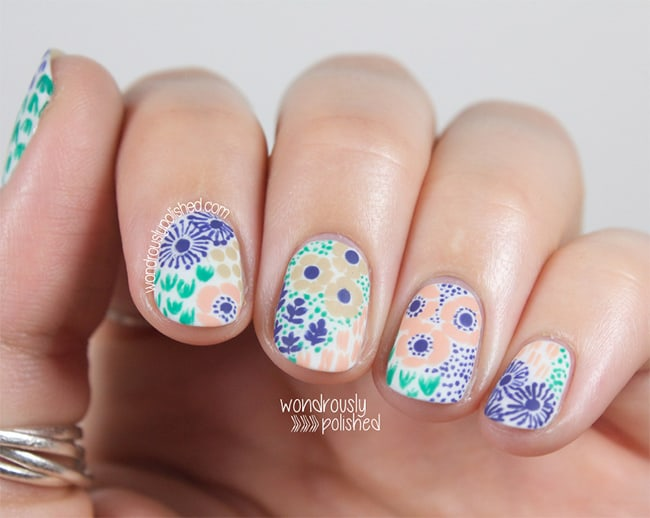 Vintage florals by Wondrously Polished | 13 Flower Nail Tutorials