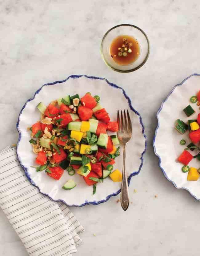 Cucumber Basil and Watermelon Salad