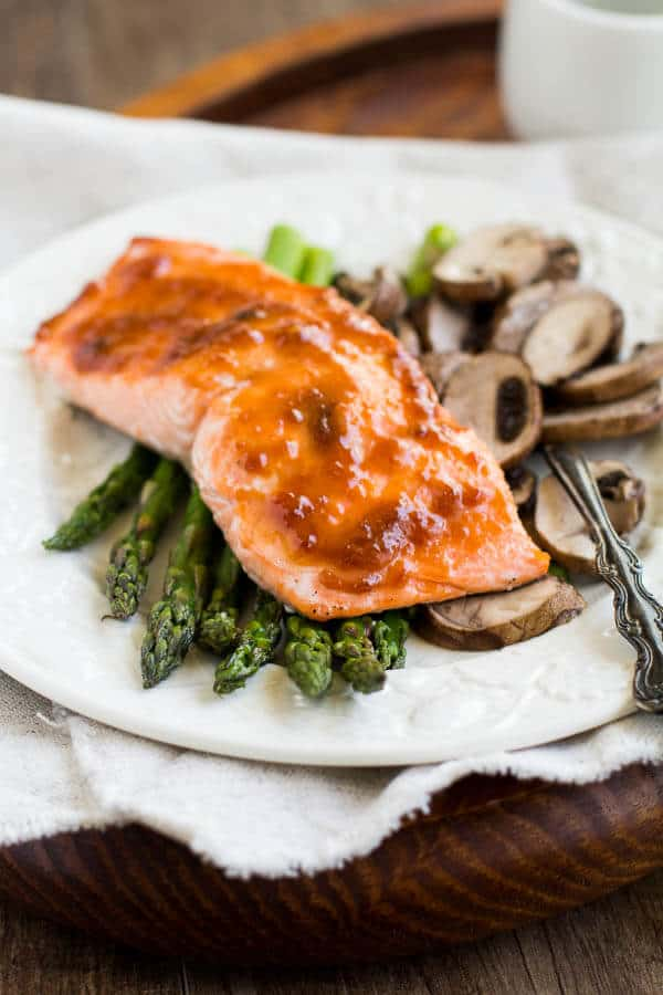 Spicy Apricot Salmon with Roasted Asparagus and Mushrooms by Sweet and Savory by Shinee