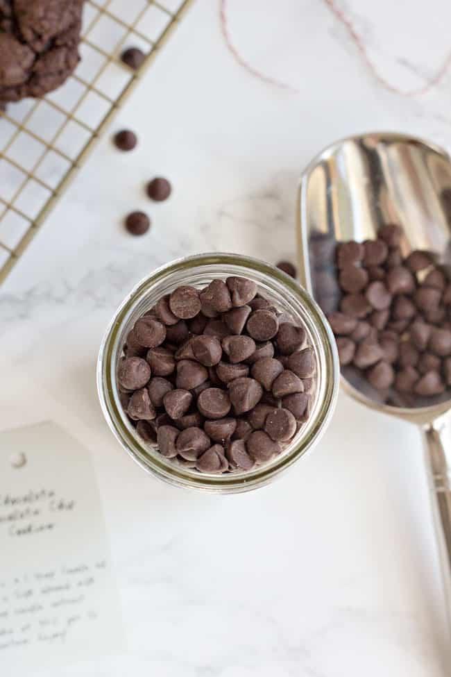 Vegan Double Chocolate Chip Cookies in a Jar