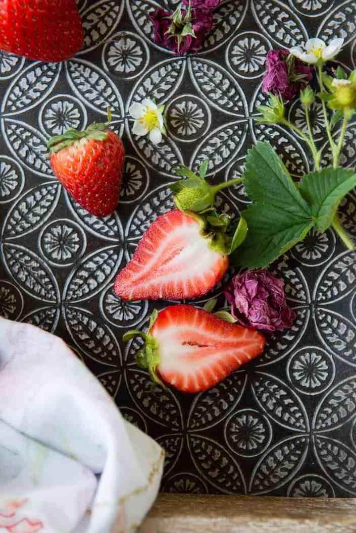 Vegan Strawberry Rosewater Ice Cream
