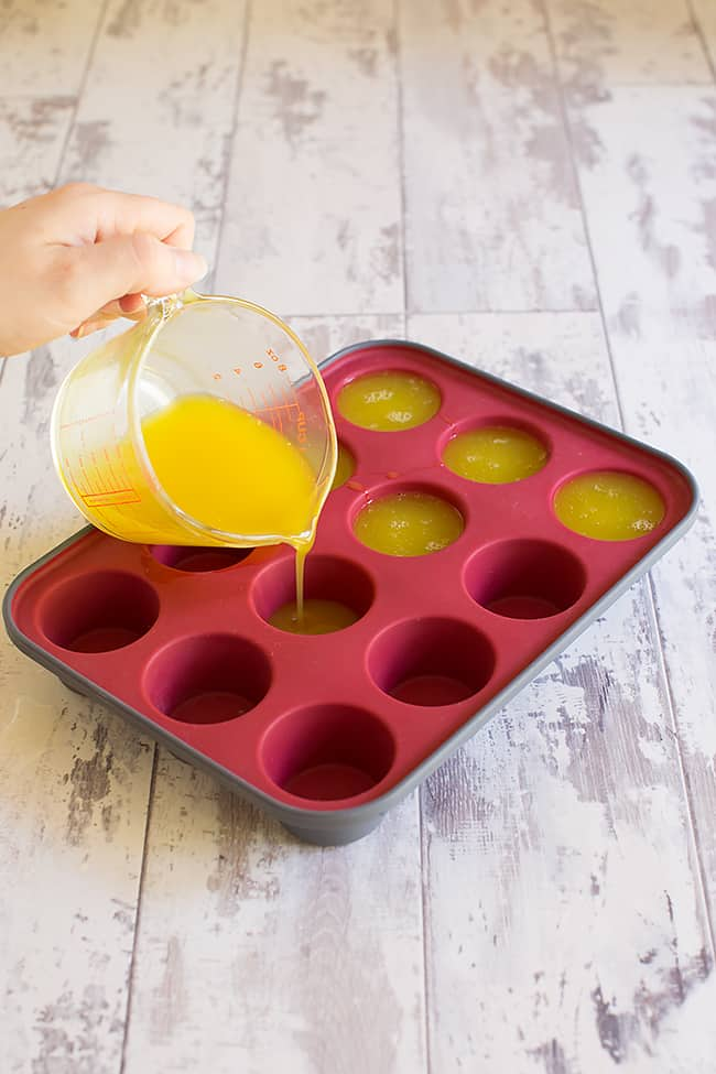 pouring jelly soap mix into molds