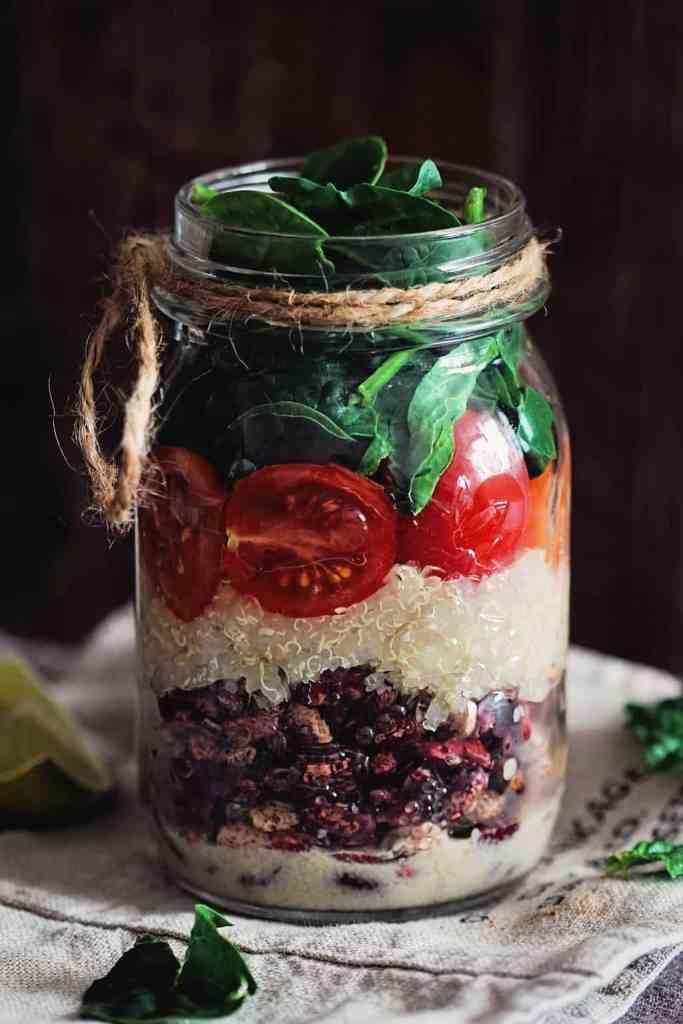 Super Satisfying Layered Quinoa Bean Salad in a Jar