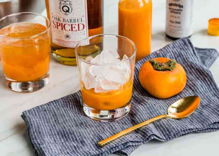 Persimmon Spiced Rum Old Fashioned made with Oak Barrel Aged Don Q Puerto Rican Rum | HelloGlow.co