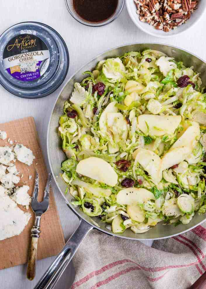 Shaved Brussels Sprouts with Gorgonzola | HelloGlow.co