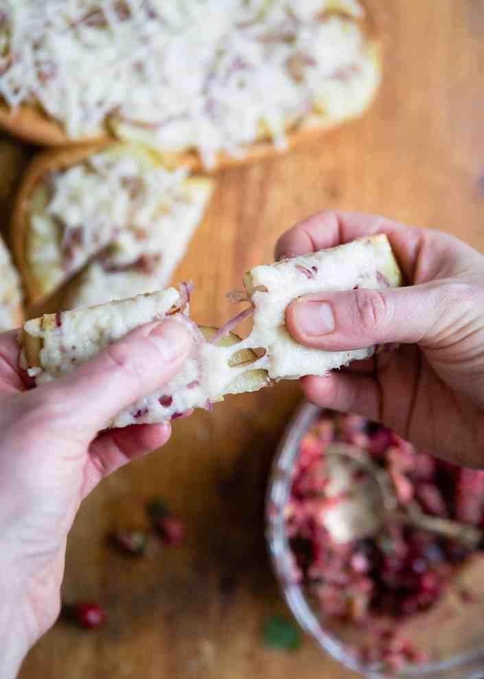 Sweet Potato Flatbread with Cranberry Salsa
