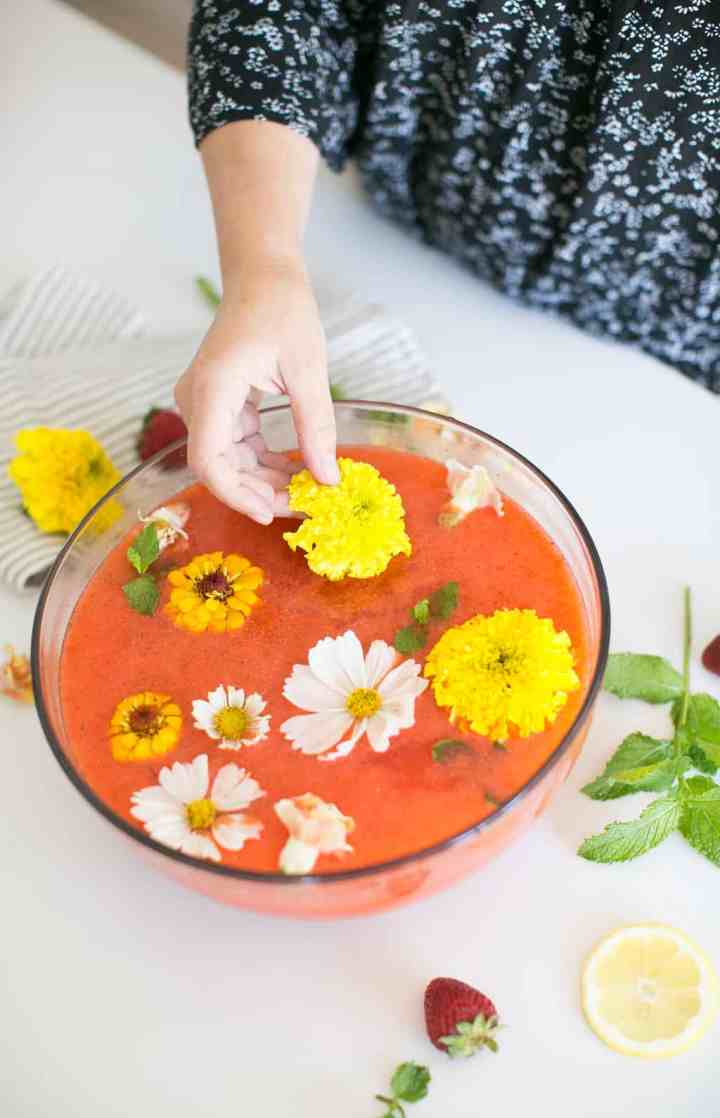 Fresh-Squeezed Strawberry Lemonade with Rosewater and Edible Flowers