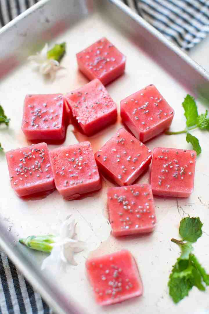 Cucumber Gin and Tonic with Watermelon Ice Cubes