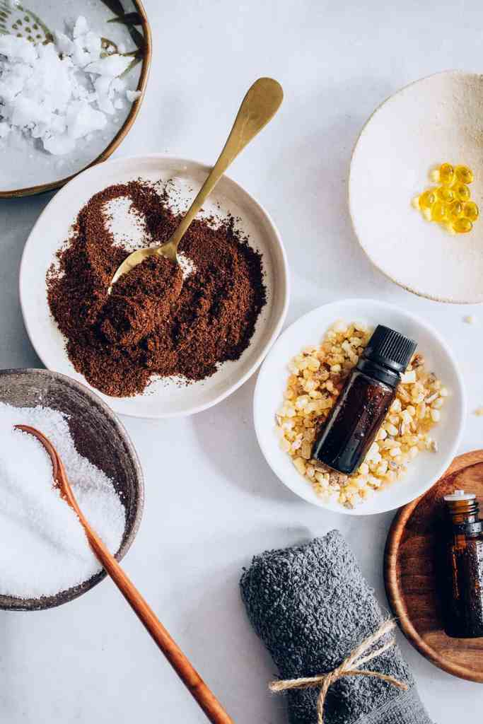 Ingredients for coffee scrub