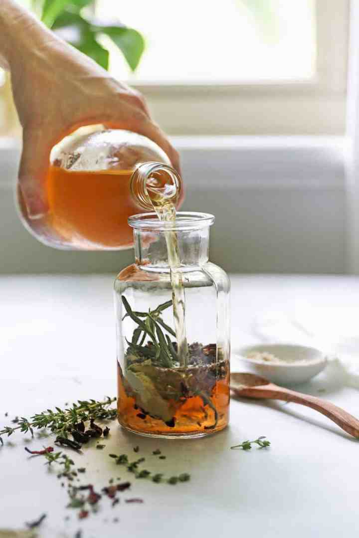 Herb-Infused Apple Cider Vinegar Hair Rinse
