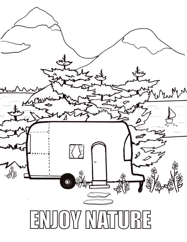 """This free coloring page shows a vintage trailer, out in nature, and has a sign that says """"Enjoy Nature""""."""