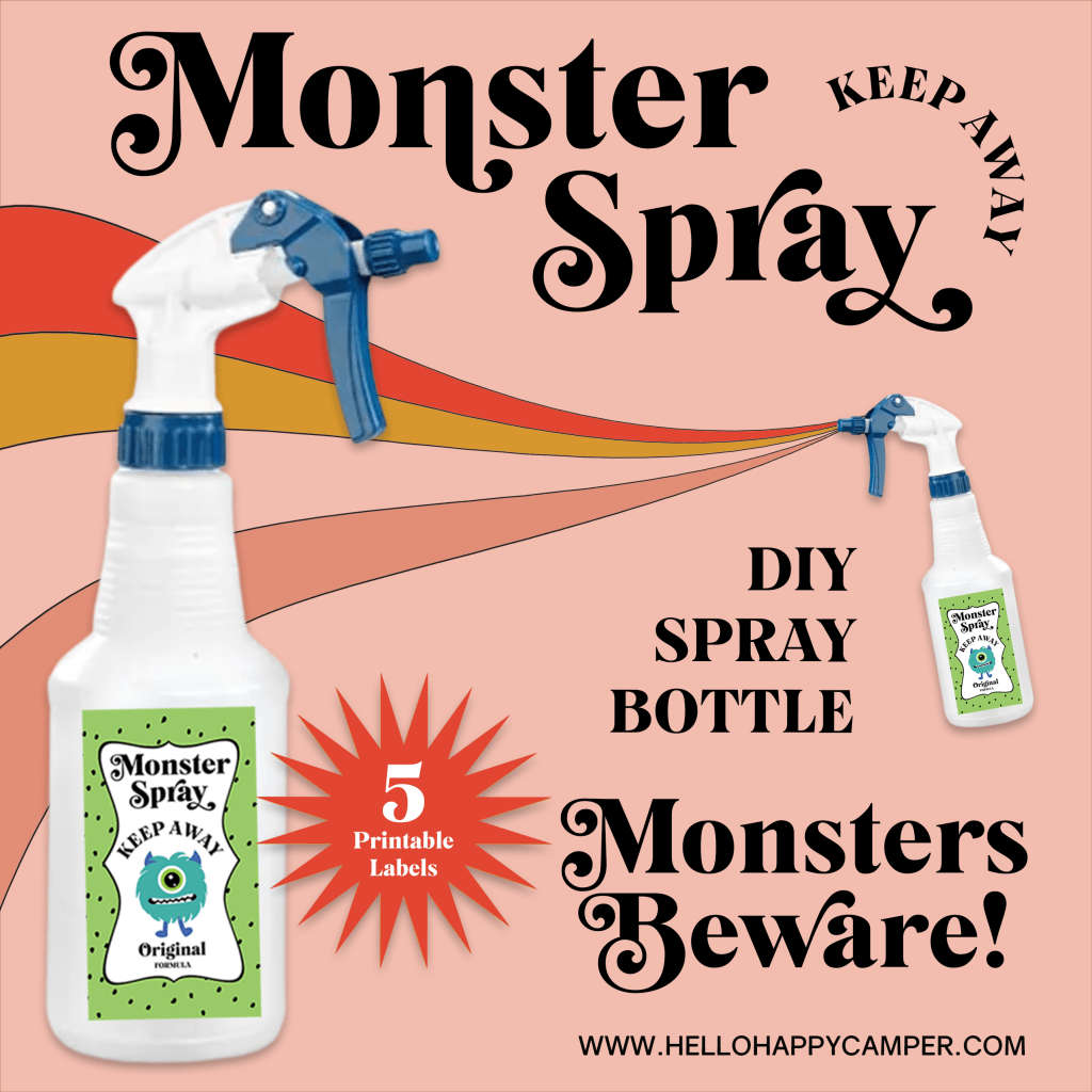 This is a vintage style advertisement showing the DIY Monster Spray labels and spray bottle.