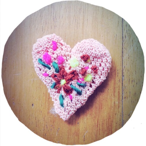 little pink heart brooch