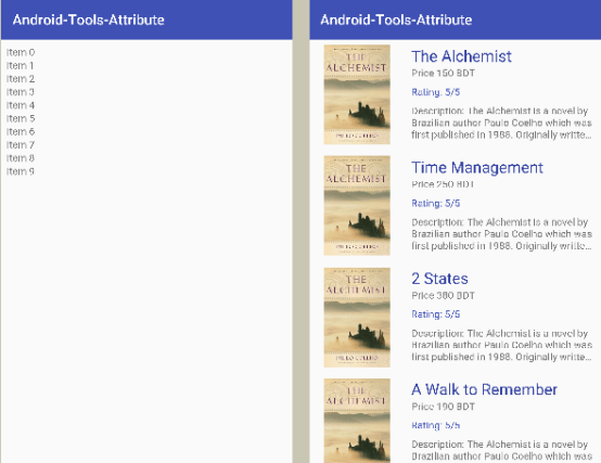 android tools attribute recyclerview preview