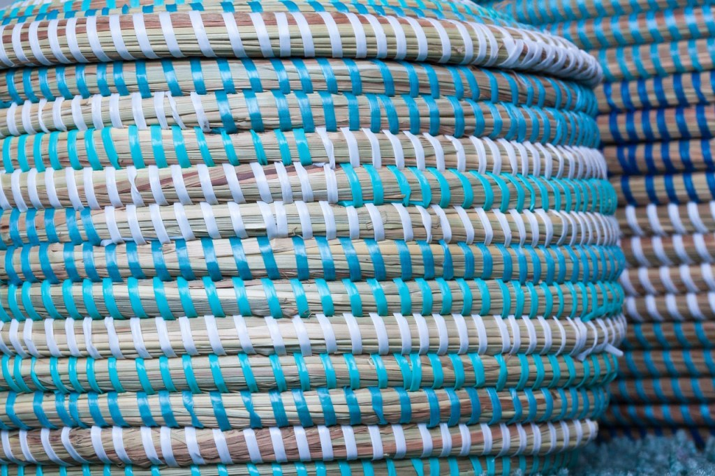 blue and turquoise basket with lid close up