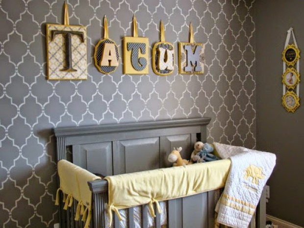 grey and yellow nursery www.roomsrevamped.com
