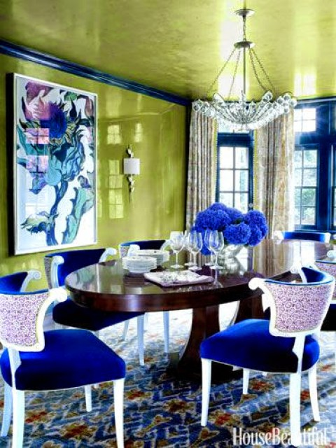 LOVE the lacquered walls! www.roomsrevamped.com